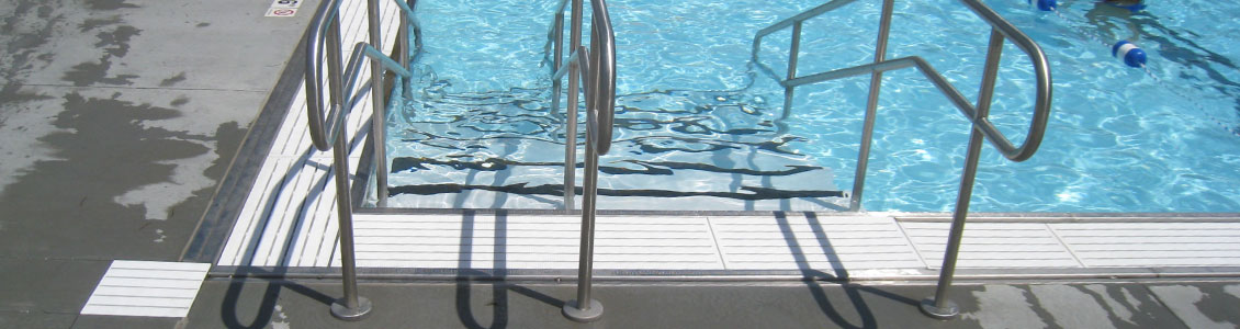 Commercial Pool Steps and Railing Attached to Pool